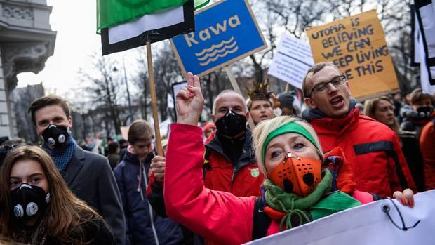 Demonstranten während der UN-Klimakonferenz in Katowice