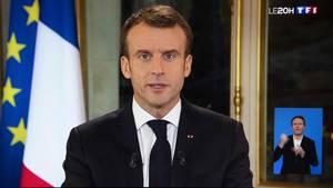 Emmanuel Macron während seiner TV-Ansprache an die Nation
