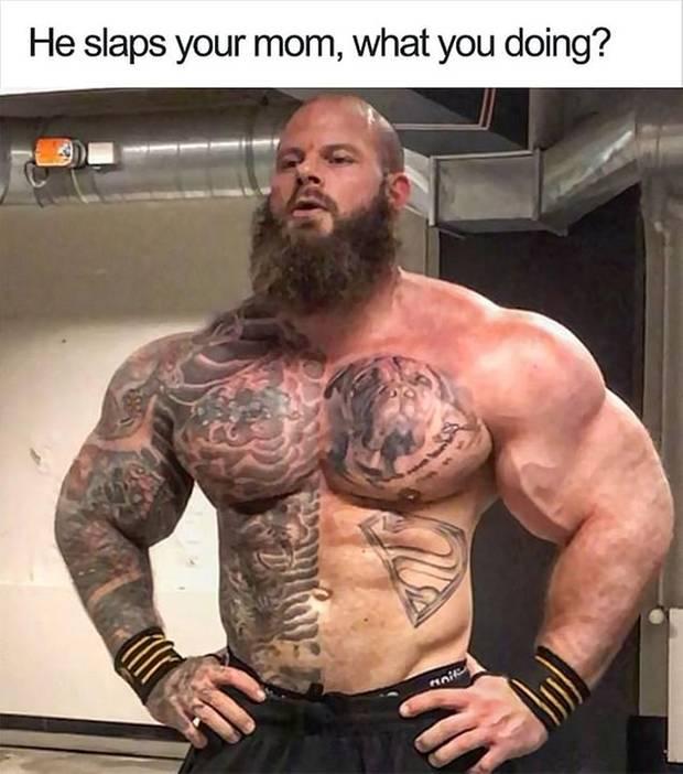 Dieses Meme mit einem Bodybuilder tauchte im Netz auf