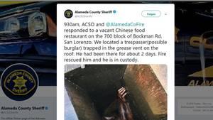 So fanden Polizei und Rettungskräfte einenMann, der in Kalifornien auf dem Dach eines leerstehenden Restaurants in einem Fettentlüftungsschacht feststeckte