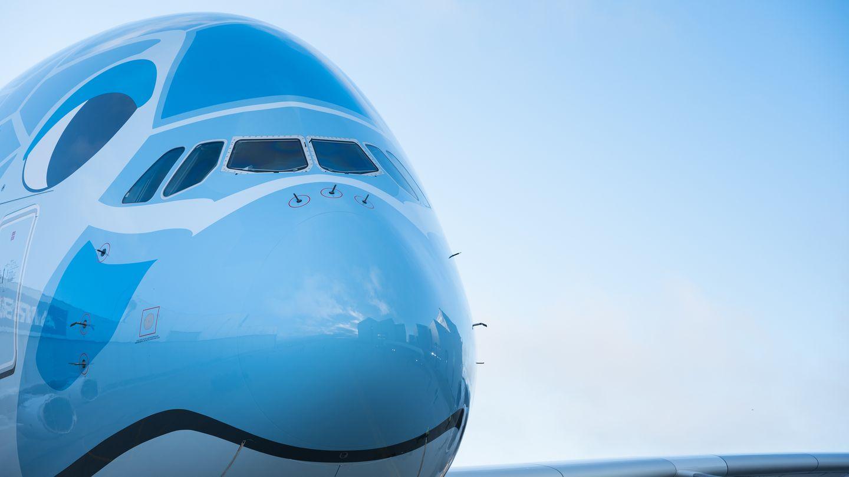 Die Frontpartie des doppelstöckigen Flugzeuges:Masuoka hatte denGestaltungswettbewerb unter2197 Einsendungen aus aller Welt gewonnen