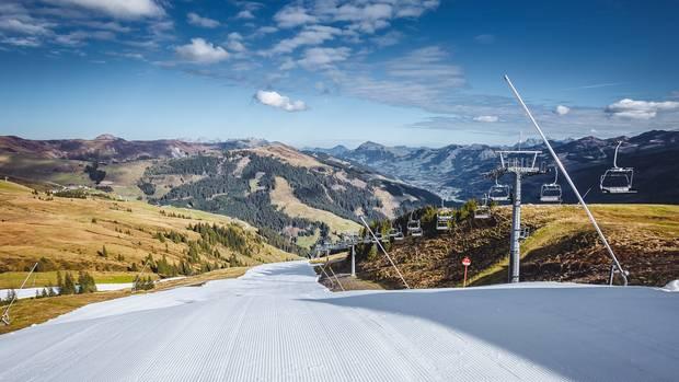 Skipisten-Präparierung am 12. Oktober 2018 am Resterkogel in den Kitzbüheler Alpen
