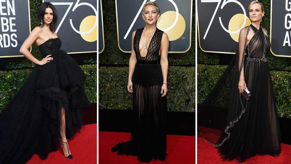 """Golden Globes, Los Angeles  Das Jahr 2018 begann modisch gesehen ziemlich düster. Zur Verleihung der Golden Globes im Januar kamen alle weiblichen Stars in Schwarz, um damit auf die """"Time's Up""""-Bewegung aufmerksam zu machen, die Opfernsexueller Gewalt eine Stimme geben soll. Model Kendall Jenner (r.) sowie die Schauspielerinnen Kate Hudson und Diane Kruger (r.) folgten dem Aufruf."""