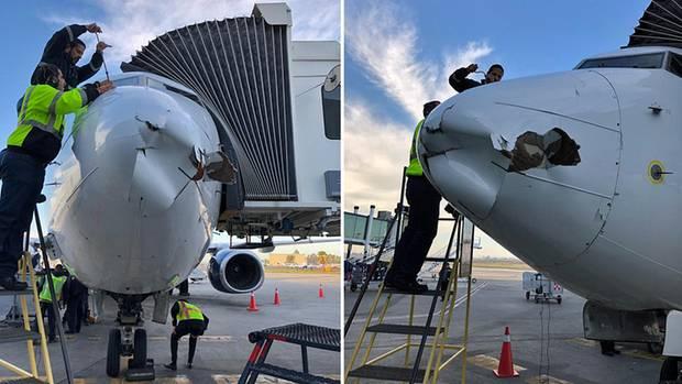Die Boeing737 der AirlineAeromexico nach der Landung in Tijuana