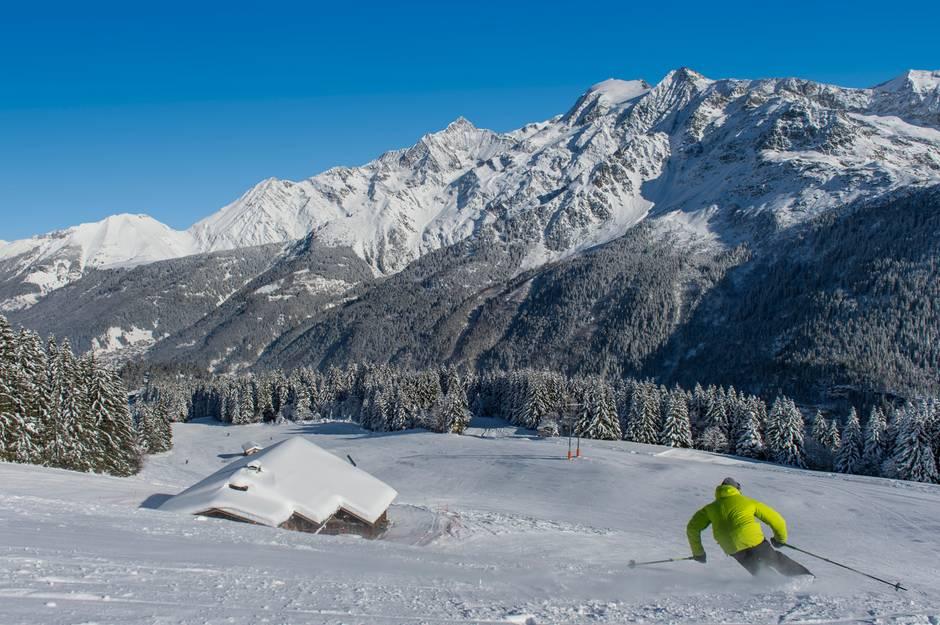 """Überragend: Von der Piste """"Signal"""" blicken Skifahrer auf das Mont-Blanc-Massiv"""