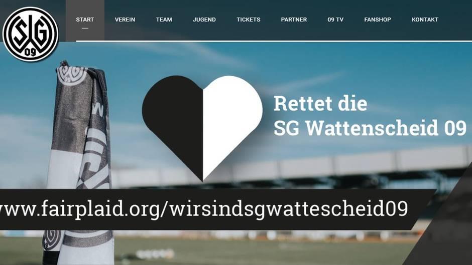 Ein Screenshot zeigt den Spendenaufruf auf der Homepage von Wattenscheid 09