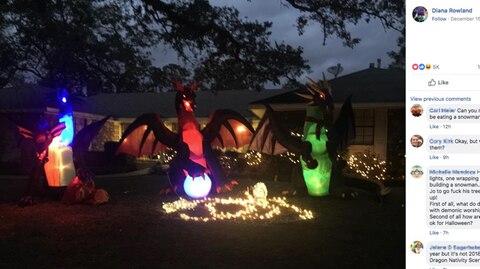 Nachbarschaft in den USA: Absurde Streitfrage: Darf man sich zu Weihnachten Drachen in den Garten stellen?