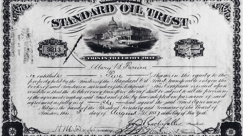 Eine Aktie von Standard Oil aus dem Jahre 1887, gezeichnet vom Firmengründer John D. Rockefeller. Der Unternehmer beherrschte mit Standard Oil zeitweise 90 Prozent des US-Ölmarktes, Basis des sagenhaften und sprichwörtlichen Reichtums der Rockefellers.