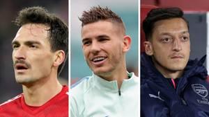 Eine Kombo ziegt drei fußballer, die im Winter den Verein wechseln könnten: Mats Hummels, Lucas Hernández und Mesut Özil
