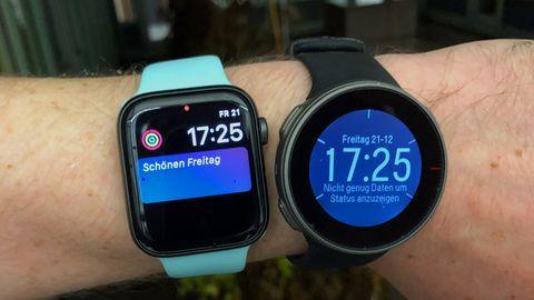 Apple Watch 4 und Polar Vantage V am Handgelenk