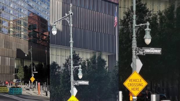 Selbst wenn man an Objekte heranzoomt, erkennt man noch viele Details, wie dieses Broadway-Straßenschild zeigt.