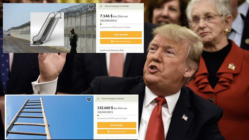 Donald Trump, seine Mauer und ein kurioser Spendenkampagnen-Wettkampf im Netz