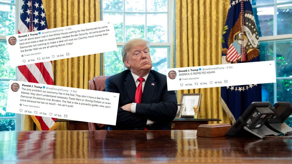 Donald Trump allein im Weißen Haus