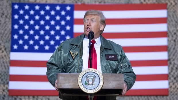 US-Präsident Donald Trump im Irak auf dem Luftwaffenstützpunkt Al-Asadwestlich der Hauptstadt Bagdad