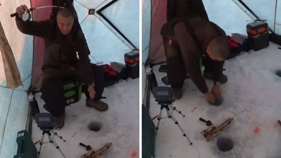 Fischer verliert die Rute beim Eisangeln