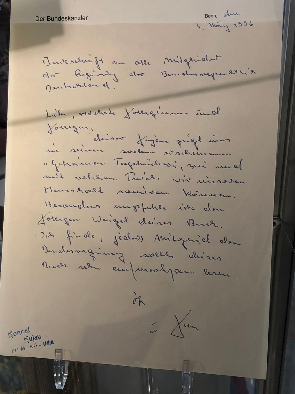 Gefälschter Brief von Helmut Kohl