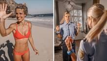 Eine Kombo zeigt eine blonde junge Frau: links im orange-roten Bikini, rechts in einer Polizeiuniform vor dem Spiegel