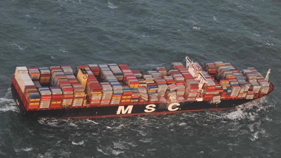 """Das Frachterschiff """"MSC Zoe"""" verlor fast 300 Container in der Nordsee"""