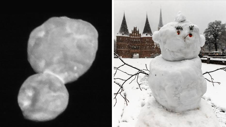 Mit einer großen und einer kleien Kugel erinnert der Himmelskörper Ultima Thule an einen zu klein geratenen Schneemann