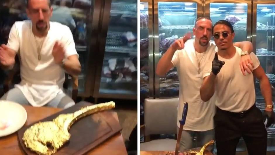 Besonderes Essen: Franck Ribéry verdrückt ein Gold-Steak im Wert von 1200 Euro