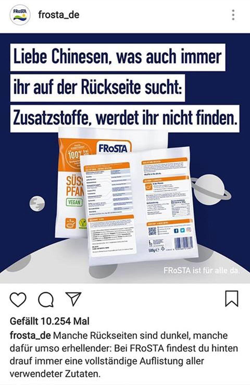 Mit diesem Post bewarb der Tiefkühlkost-Anbieter Frosta seine Süßkartoffel-Pfanne. Der Instagram-Eintrag wurde mittlerweile gelöscht, dafür entschuldigte sich Frosta bei allen, die sich dadurchdiskriminiert gefühlt haben.