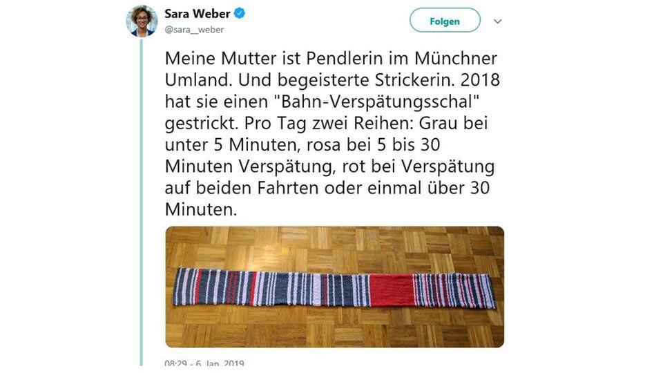 """""""Grau bei unter 5 Minuten"""": Pendlerin strickt Schal - als Muster dienen die Verspätungen der Bahn"""