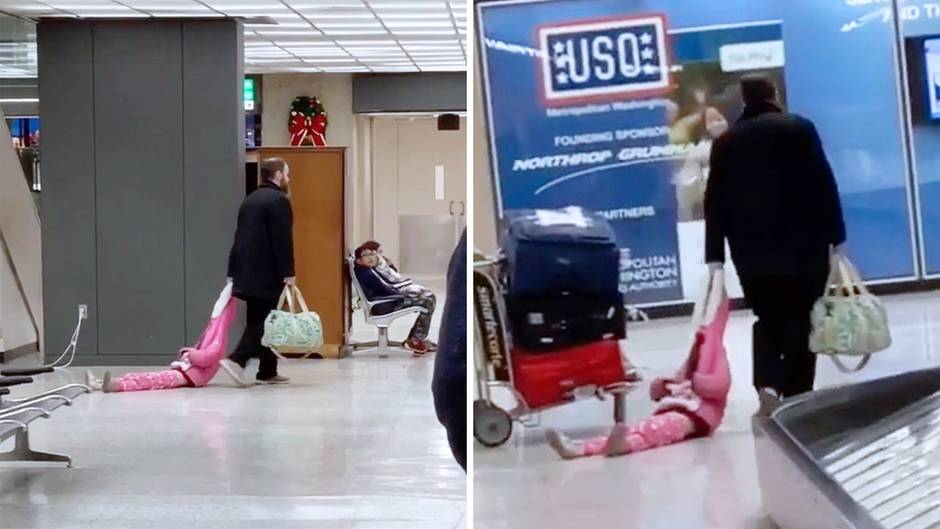 Witzig oder daneben?: Mann lässt sich nicht aus der Ruhe bringen – und schleift seine Tochter durch den Flughafen