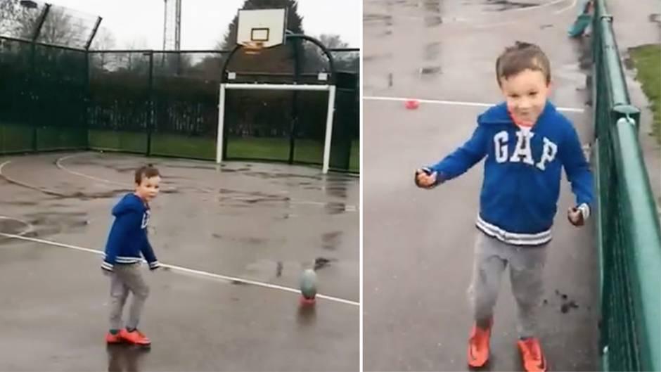 Oscar Herbert: Sechsjähriger Brite verzaubert mit genialen Rugbyball-Kunstschüssen