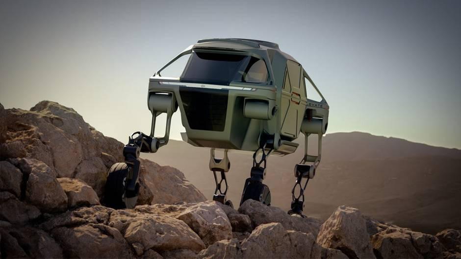 Im schweren Terrain fahren die Motoren die Motoren die Beine aus und das Vehikel stakst wie ein Insekt auf vier Beinen voran. Möglich wird das durch eine ausgefeilte Steuerung, die verhindert, dass das Fahrzeug stürzt.