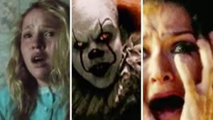 Collage: Erschrockene Gesichter, Clown