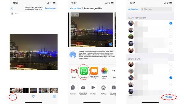 """Wählen Sie in der Foto-App das Bild, tippen Sie dann auf das """"Teilen""""-Symbol und das Whatsapp-Logo. Wenn Sie nun Kontakte auswählen und """"Weiter"""" tippen, landet das Bild im Chat, auch wenn Whatsapp keinen Foto-Zugriff hat."""