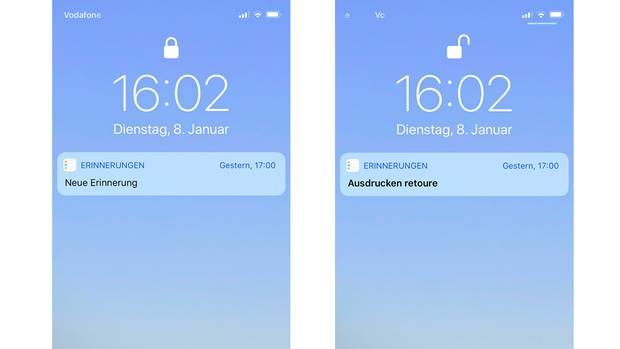 Schaltet man die Vorschau im gesperrten Lockscreen aus, ist nur bei entsperrtem iPhone eine lesbare Benachrichtigungzu sehen
