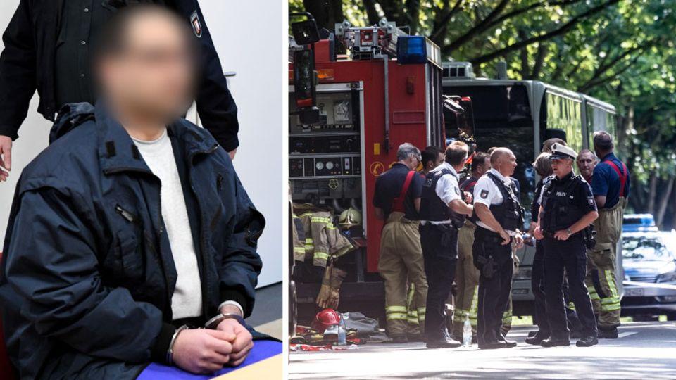 Linienbus in Lübeck mit Polizei und Rettungskräften