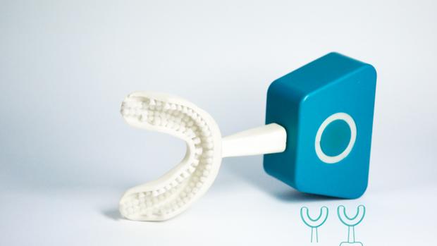 Im Inneren stecken Lamellen, die dann mit regulärer Zahnpasta beschmiert werden
