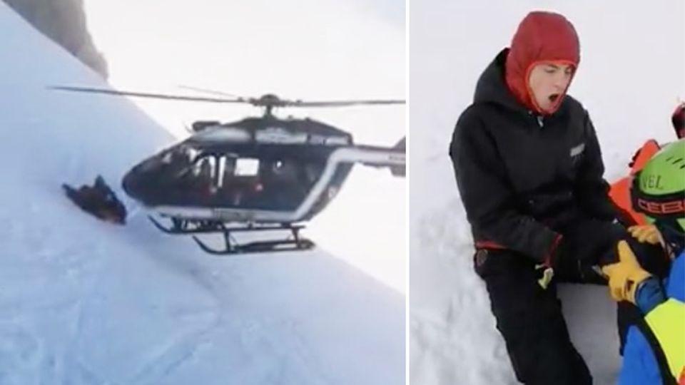 Alpen: Helikopter-Pilot rettet mit sagenhaftem Manöver verunglückten Skifahrer