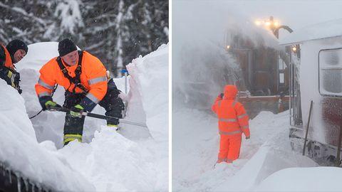 Das Winterchaos in Bildern: So fest haben die Schneemassen Bayern, Sachsen und Österreich im Griff