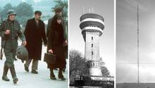 """Szene aus """"Holocaust – Die Geschichte der Familie Weiss"""", Sendeanlagen Koblenz und Longinusturm"""