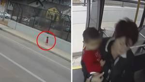 Eine Kombo zeigt ein Kleinkind, das allein über einen Fußweg läuft und rechts eine Busfhrerin mit dem Kleinkind auf dem Arm