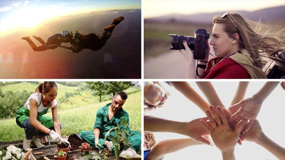 Fallschirmspringen, Fotografieren, Gartenarbeit, Teamsport: Diese Hobbys sehen auf dem Lebenslauf gut aus.