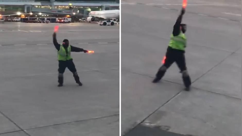 Flughafen Toronto: Wenn Menschen ihren Job lieben: Lotse begeistert Passagiere mit Showeinlage