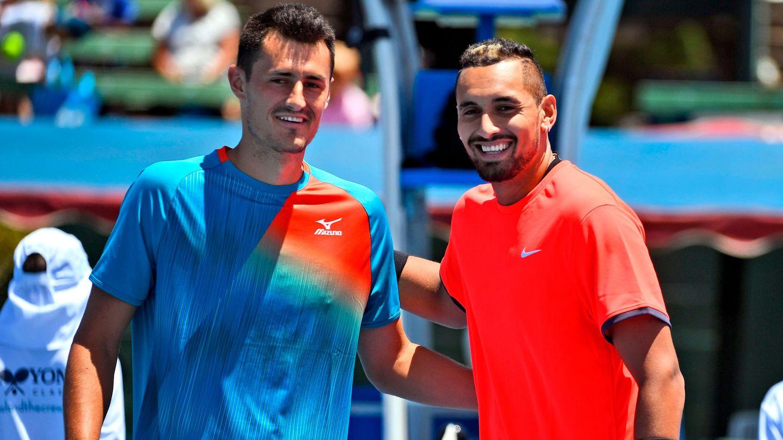 """Die Australier Bernard Tomic (l.) und Nick Kyrgios spielten beim""""Kooyong Classic"""" gegeneinander"""