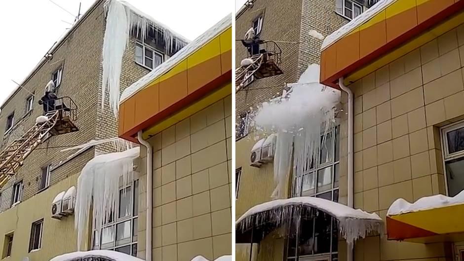 Unerwartete Kettenreaktion: Russen wollen gewaltigen Eiszapfen entfernen – das endet brachial