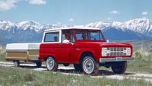 Gelände und Familie mit dem Bronco. Reklame von 1966.