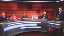 """Frank Plasberg diskutiert bei """"Hart aber fair"""" mit seinem Gästen über die anstehende Parlamentsabstimmung zum Brexit"""