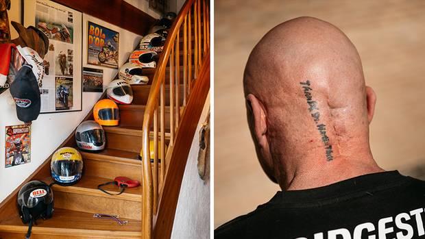 """Die furchterregendste von Mr. HayabusasNarben findet sich auf der Rückseite seines kurz rasierten Schädels. """"Thanx Dr. Martin Theis""""läuft ein Tattoo die Narbe entlang – in Dankbarkeit für sein Leben."""