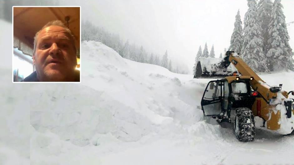 Vier Meter Schnee vor der Tür: Gastwirt Markus Esletzbichler ist tagelang von der Außenwelt abgeschnitten.