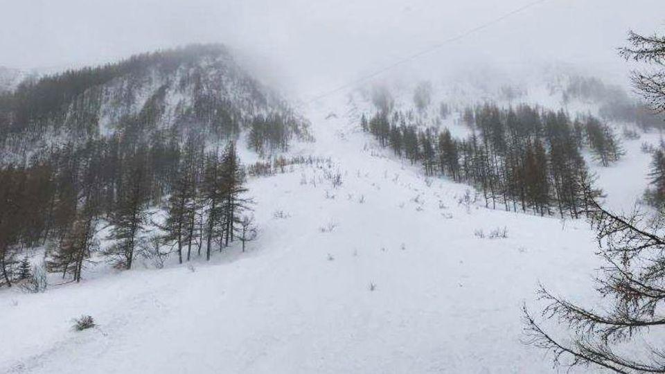 Ein Lawinenabgang im Bereich des Skigebiets Grübl am Präbichl in der Steiermark