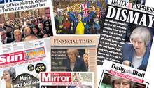 Titelseiten aus Großbritannien zum geplatzten Brexit-Deal von Theresa May