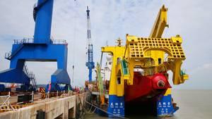 DieTian Kun Hao kann in einer Stunde 8000 Kubikmeter Boden aufnehmen.