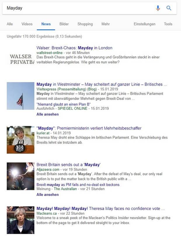 """Die """"Mayday""""-Meldungen bei Google News"""
